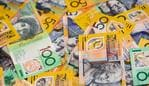 Background of Australian fifty and one hundred dollar notes.Others in this series.