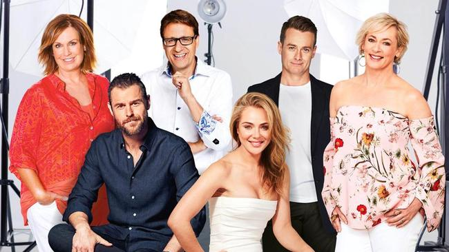 2018 Gold Logie nominees: (from left) Tracy Grimshaw, Rodger Corser, Andrew Winter, Jessica Marais, Grant Denyer and Amanda Keller.