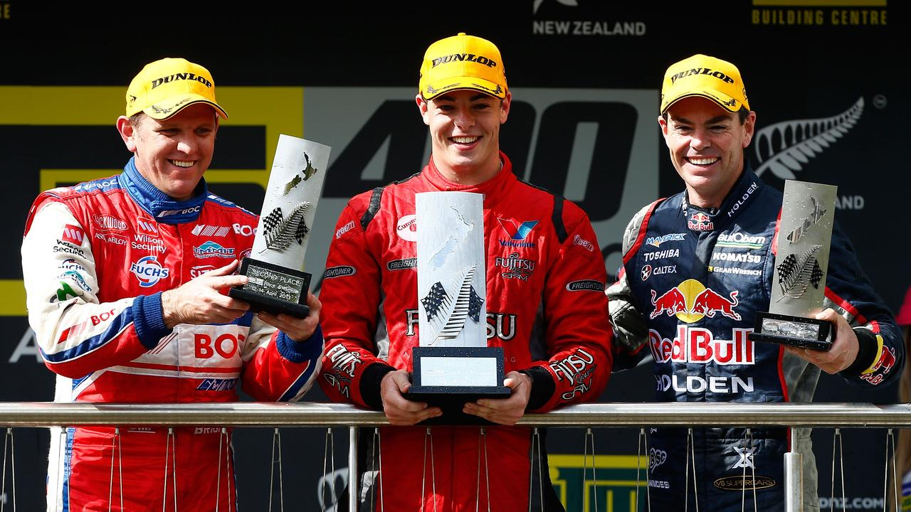 A fresh-faced McLaughlin (C) shared the podium with Lowndes (R) at Pukekohe in 2013.