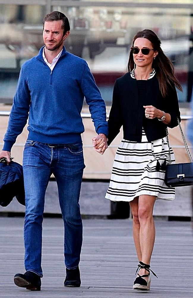 Pippa and James arriving at the wharf outside the Park Hyatt in Darling Harbour. Picture: John Grainger