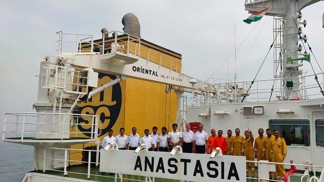 Crew members have been stuck aboard the bulk carrier Anastasia as a trade dispute over coal exports between China and Australia intensifies. Picture: Twitter / @AnnaKrien