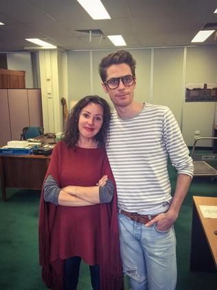 Tina Arena with Harvey Miller at Client Liaison HQ, while recording A Foreign Affair last year. Picture: Client Liaison