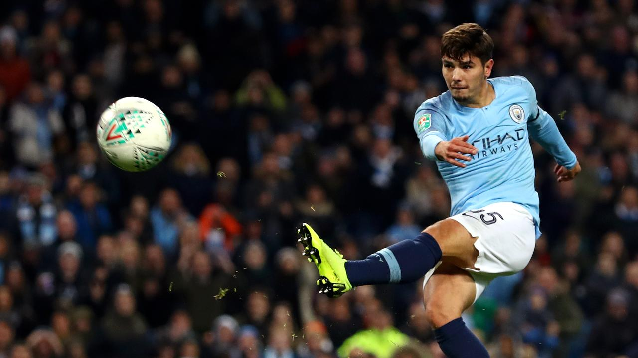 Brahim Diaz of Manchester City scores