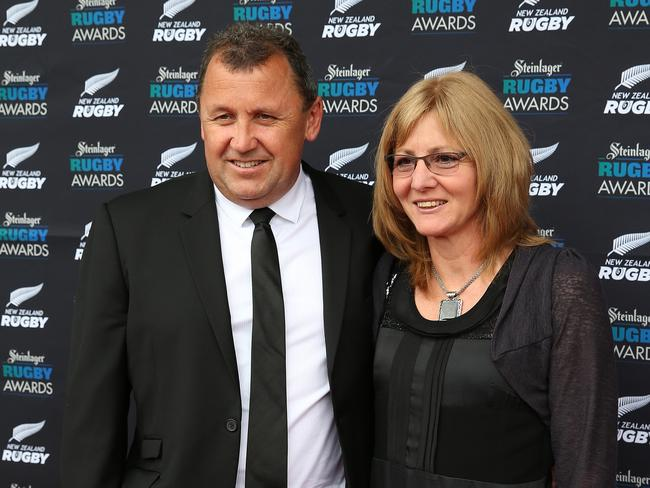 Ian Foster and wife Leigh. (Photo by Fiona Goodall/Getty Images for NZRU)