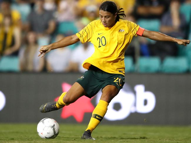 Kerr-ching ... Sam Kerr on the money for the Matildas at the Cup of Nations.
