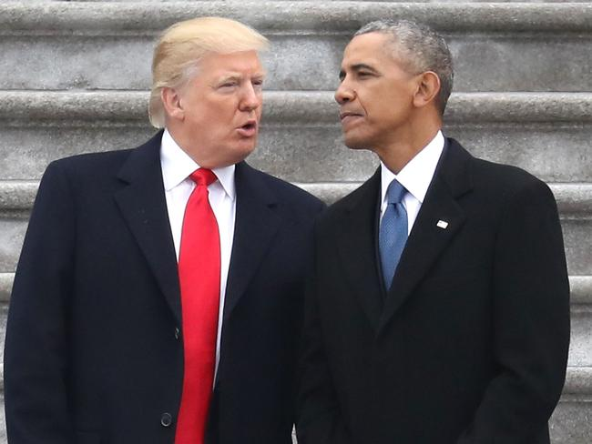 President Donald Trump and former president Barack Obama exchange words. Picture on Capitol Hill: Rob Carr