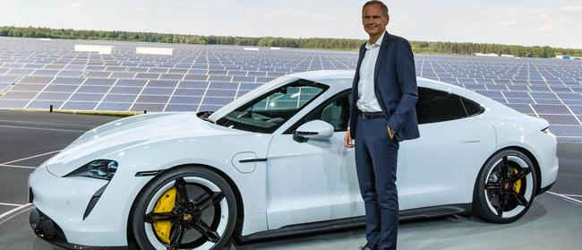 """""""Sustainability is important"""": Porsche boss Oliver Blume at launch of all-electric Taycan. Picture: Patrick Pleul/dpa/AFP"""