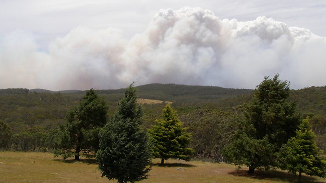 A fire burns near Ean Higgins property at Kydra River in Southern NSW.