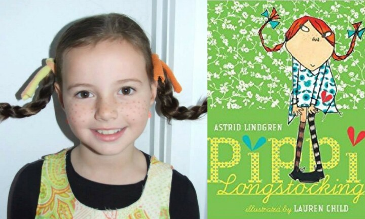 PIPPI LONGSTOCKING. Is that wire in those pigtails? However you've done it, we think we want our hair like that every day. That is SO COOL! And so is the costume idea. Well done mama!