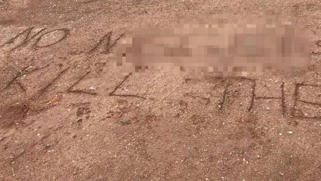 The message is believed have been scrawled at Andrews Farm, SA. Picture: Facebook