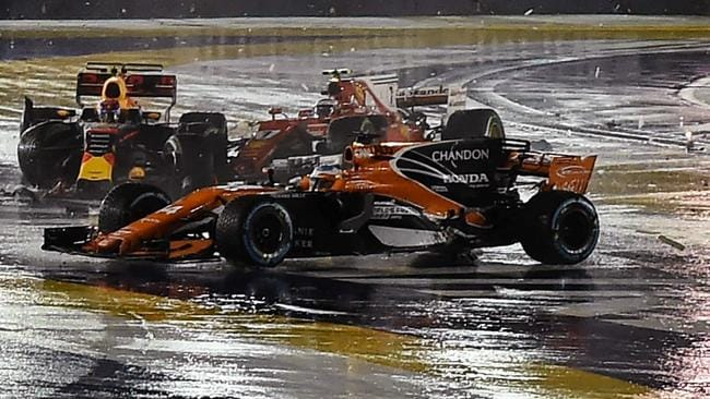 Kimi Raikkonen and Max Verstappen were left stranded after their turn one collision. Fernando alonso's car was also damaged.