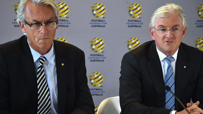 Football Federation Australia chairman Steven Lowy (R) and chief executive officer David Gallop.