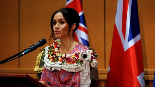 The Duchess of Sussex speaks during a visit to the University of the South Pacific. Picture: Phil Noble