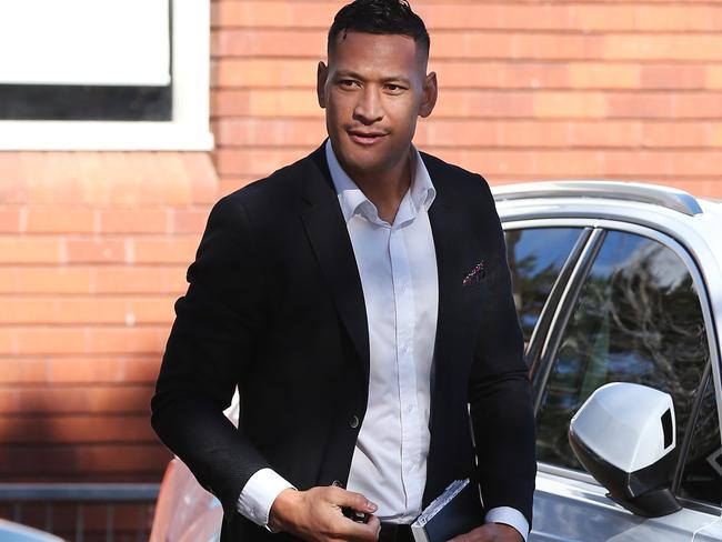 Israel Folau arriving at church earlier this month.