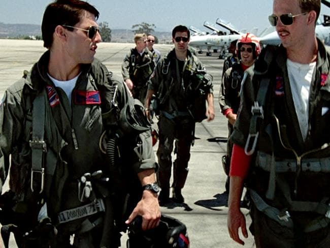 Tom Cruise as Maverick (l) and Anthony Edwards as Goose (r) in scene from 1986 film Top Gun. Picture: Supplied