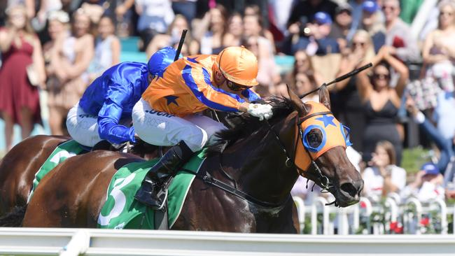 Jockey Opie Bosson rides Avantage to victory in the Birthday Card Stakes on Golden Slipper Day at Rosehill Gardens