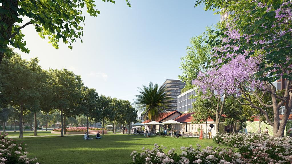 An artist's render of Tote Park as part of Moonee Valley Racing Club redevelopment. Picture: Supplied