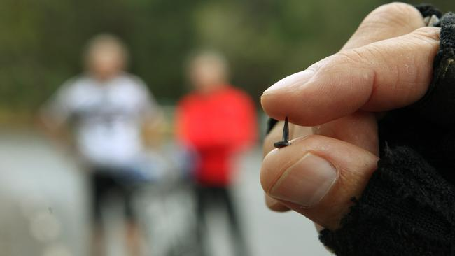 Police may be one step closer to finding the person scattering tacks on the Yarra Boulevard. Picture: Janine Eastgate