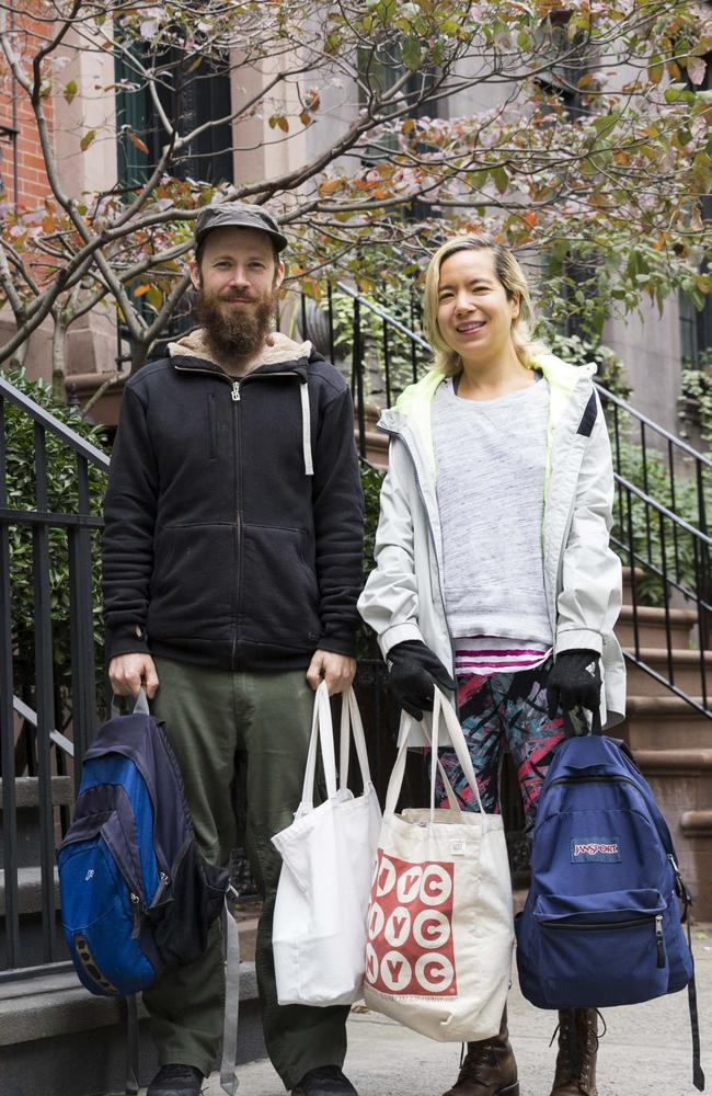 Sandy Patch and Jennifer Liepin stay in other homes and pet sit to try and pay off their mortgage. Picture: Annie Wermiel/NY Post.