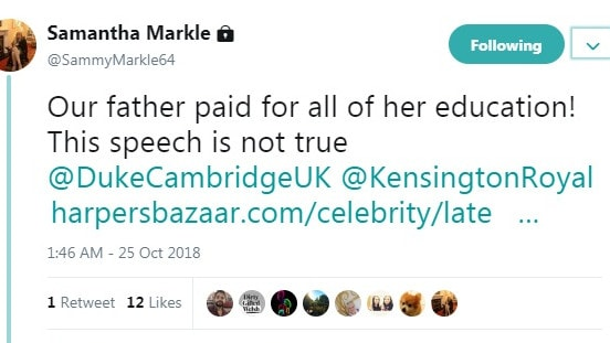 She tagged Kensington Royal and an unverified account linked to Prince William.
