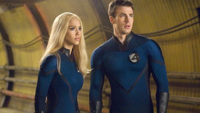 Jessica Alba and Chris Evans in Fantastic Four. Picture: Fox
