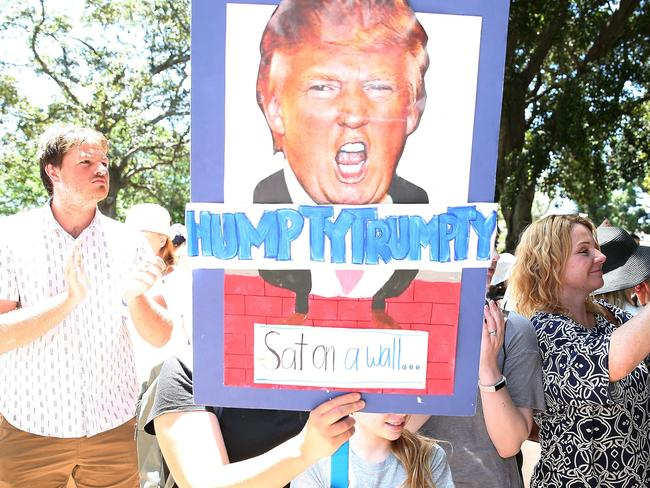 Protesters march in a rally against US President Donald Trump in Sydney. Picture: Andrew Murray/AFP
