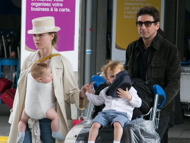 Actress Melissa George and Jean-David Blanc with sons Solal Samuel Glenn Blanc and Raphael Blanc, arriving at Nice airport, France. Picture: Getty Images