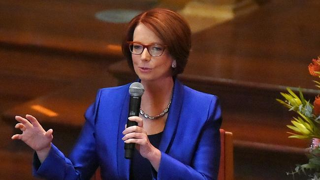 07/09/15 Professor Julia Gillard at Adelaide University. Now in her first public lecture at the University of Adelaide, Professor Gillard will explore why the quality of education is so critical to the wellbeing and sustainability of a community. Pic Roy VanDerVegt.