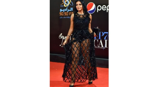 """""""I probably miscalculated when I chose to wear this dress,"""" she said. Picture: AFP"""