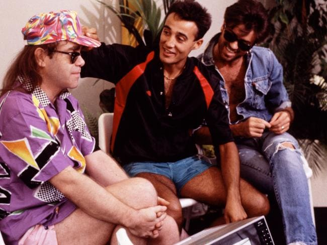 Elton John backstage with Andrew Ridgeley and George Michael of Wham! in London, 1986. Picture: Getty