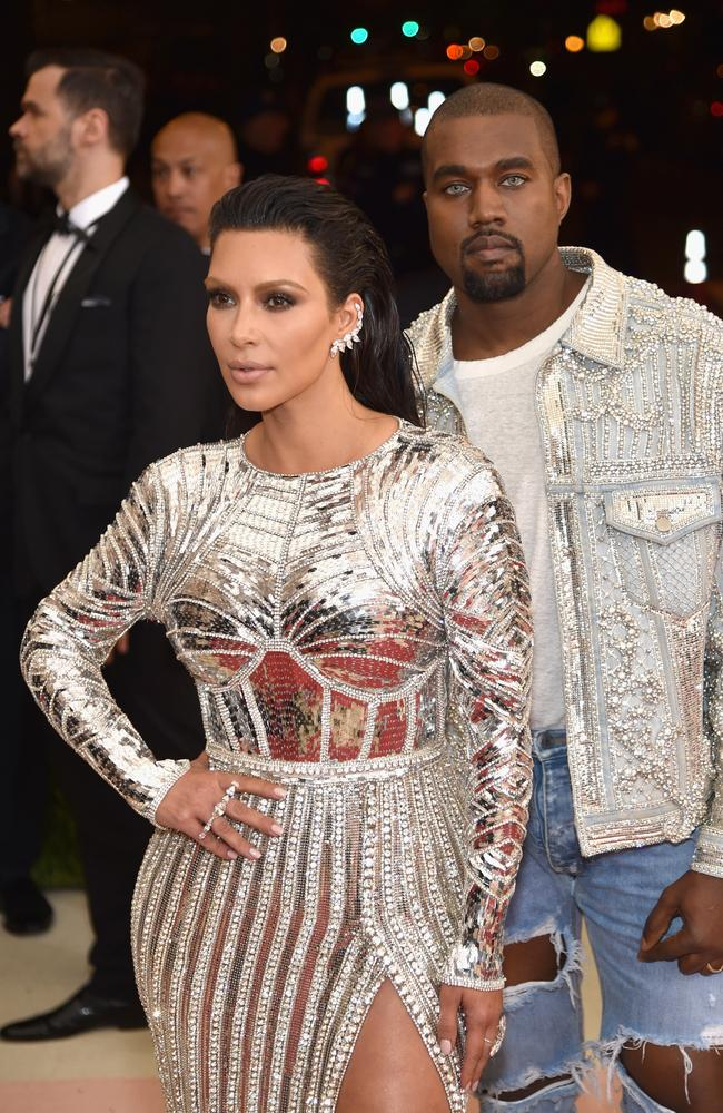 Kim Kardashian and Kanye West go futuristic at the 2016 Met Gala. Picture: Dimitrios Kambouris/Getty Images.