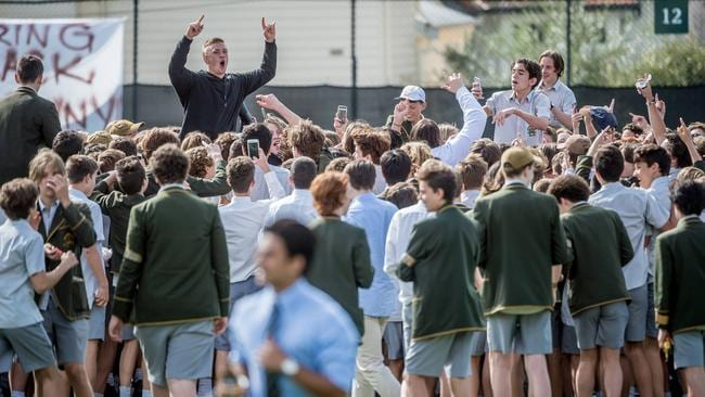 "Trinity Grammar students protest over the sacking of ""Browny"". Picture: Jake Nowakowski"