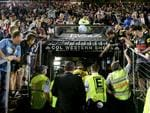 Referees get abused by Penrith fans as they walk off during the round 3 NRL game between the Penrith Panthers and the Roosters. Picture: Gregg Porteous