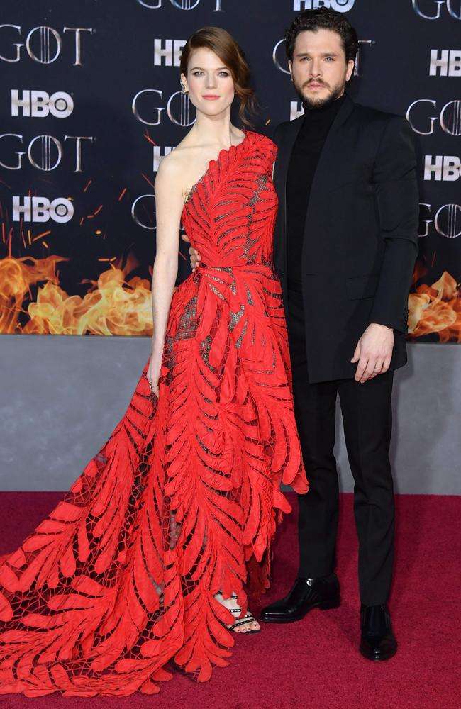 GoT stars (and real-life couple) Rose Leslie and Kit Harington. Picture: AFP