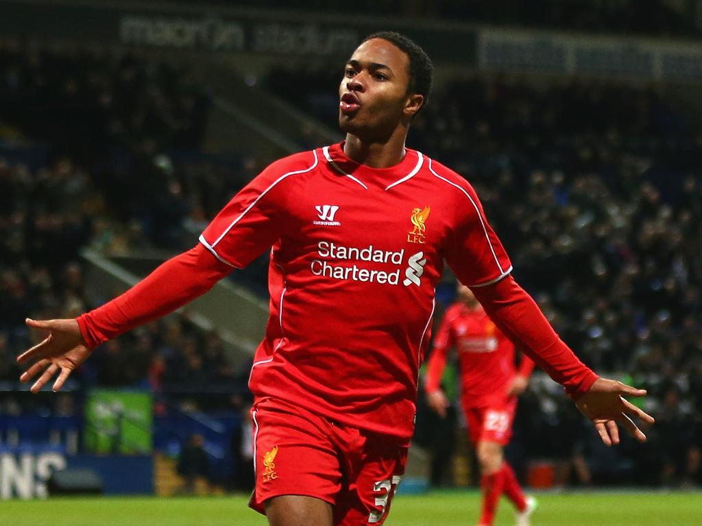 BOLTON, ENGLAND - FEBRUARY 04: Raheem Sterling of Liverpool celebrates scoring their first goal during the FA Cup Fourth round replay between Bolton Wanderers and Liverpool at Macron Stadium on February 4, 2015 in Bolton, England. (Photo by Michael Steele/Getty Images)