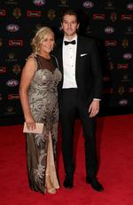 Marcus Bontempelli of the Western Bulldogs and Geraldine Bontempelli arrive at the 2016 Brownlow Medal Count.
