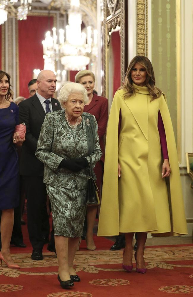 The Queen walking alongside Melania Trump in Buckingham Palace. Picture: Yui Mok/AP