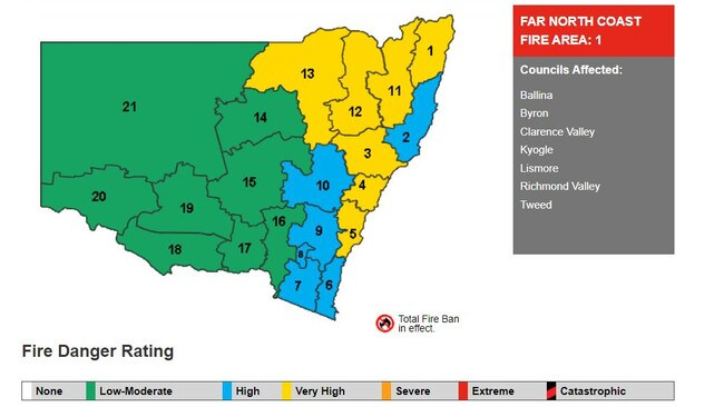 Fire danger rating for November 14, 2019 in NSW. Picture: NSW RFS