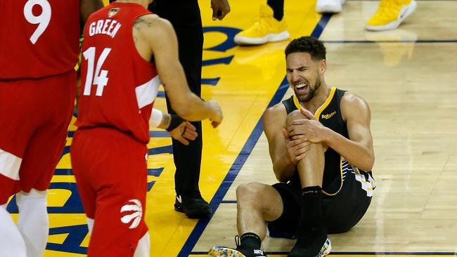 Klay Thompson feels the pain of his left knee injury. Pic: Getty Images
