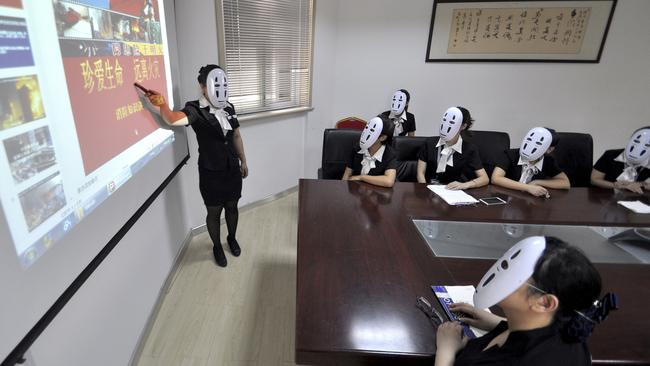 'Faceless day' means workers can relax their smiling muscles.