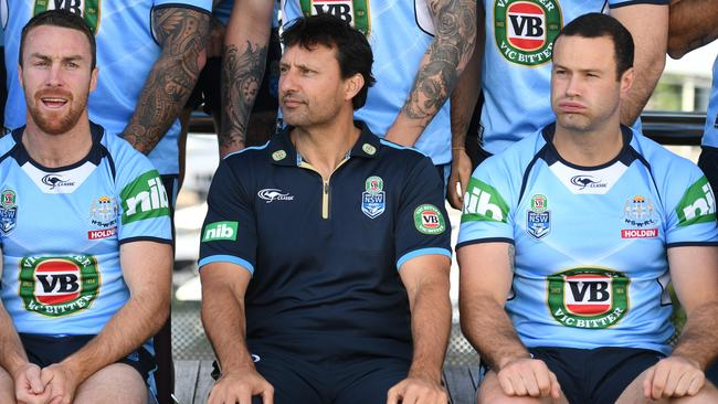 James Maloney, coach Laurie Daley, and captain Boyd Cordner of the Blues.