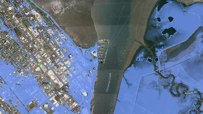 The Coastal Risk sea level rise mapping tool shows much of Cairns flooded under a high level scenario.
