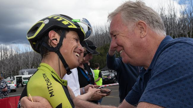 A smiling Gerry Ryan congratulates Esteban Chaves after his tour win. Picture: Getty Images