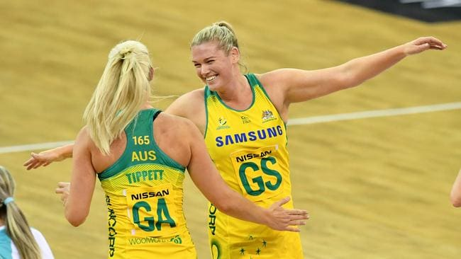 Caitlin Thwaites (left)] of the Diamonds celebrates a goal the team mate Gretel Tippett. Picture: AAP Image