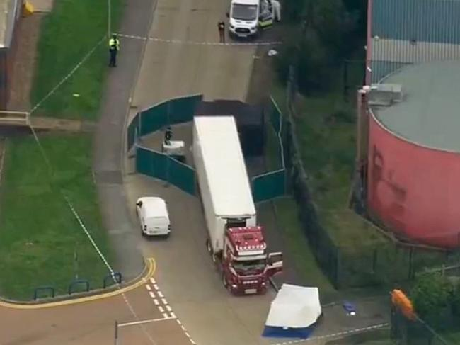 The location where police found 39 bodies found in a truck. Picture: Sky News
