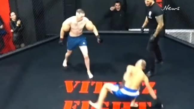 Russian bodybuilder with massive 61cm biceps destroyed in MMA fight