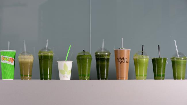 The smoothies that underwent the taste test. Picture: Tricia Watkinson.