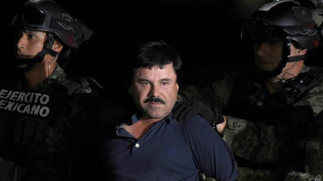 "Drug kingpin Joaquin ""El Chapo"" Guzman is accused of running the world's biggest drug cartel and spending a quarter of a century smuggling more than 155 tons of cocaine into the United States. Picture: AFP"