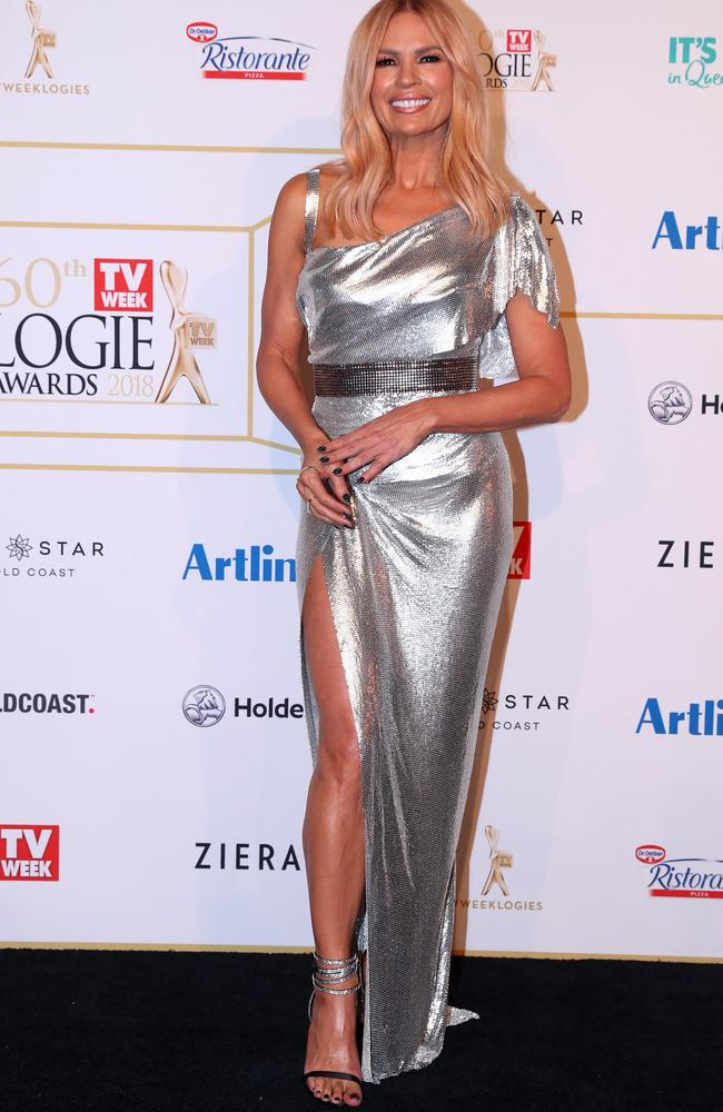 Sonia Kruger in shimmering silver. Picture: Getty