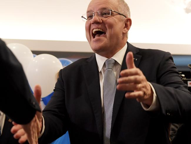 Prime Minister Scott Morrison has pulled off a stunning victory. Picture: Tracey Nearmy/Getty Images
